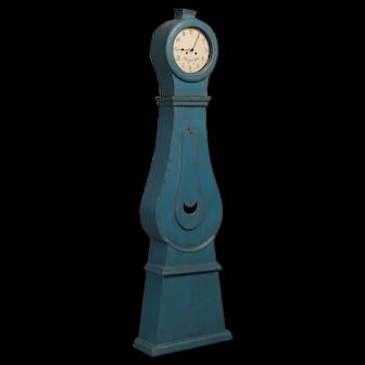 Antique Blue Painted Swedish Mora Grandfather Clock