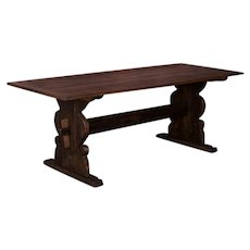 Antique Swedish Country Pine Trestle Dining Table