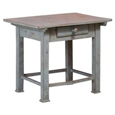Antique Gray Painted Swedish Country Side Table