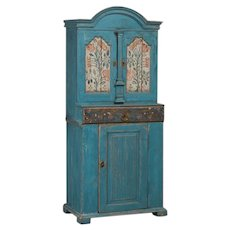 Antique Swedish Blue Cabinet / Cupboard with Original Paint