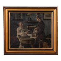 Antique Oil on Canvas Interior Scene of Father and Daughter signed Sophus Vermehren