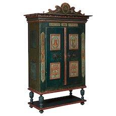 Antique Austrian Armoire With Original Folk Art Paint