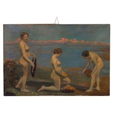 Original Oil on Canvas Painting of Three Female Nudes