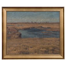Antique Original Danish Oil on Canvas Landscape Painting