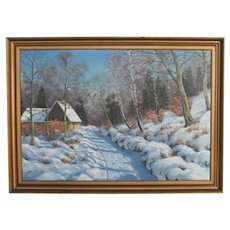 Original Oil on Canvas Painting of Home on a Wintry Road, Signed Otto Eilentsen