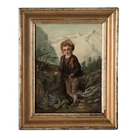 Antique Original German Alpine Scene Oil Painting of a Young Boy