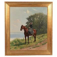 Antique Signed Oil Painting of Woman Riding Horseback Side Saddle
