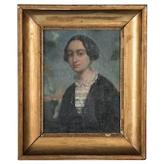 Antique 19th Century Original Oil Painting Portrait of a Lady