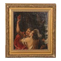 Original 18th Century Italian Florentine School Oil Painting, 2 Figures Holding the Sacred Heart