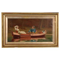Signed Antique Oil Painting on Canvas of Two Lovers in a Boat