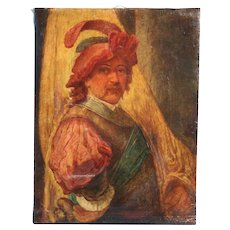 Signed Unframed 19th Century Oil on Canvas Portrait of Man with Feathered Cap