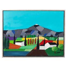 Contemporary Acrylic on Canvas Painting, Vivid Colored Landscape by Preben Saxild
