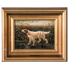 Small Signed Antique Original Danish Oil Painting of Hunting Dog with Exceptional Detail