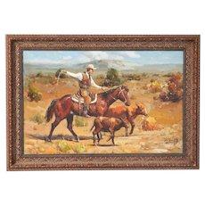 Original Western Oil on Canvas Painting of Cowboy on Horseback Roping Calf
