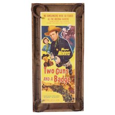 Original Movie Poster with actor Wayne Morris In Rustic Frame with Horse Shoes
