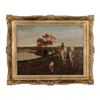 Original Oil on Canvas Painting, Horse & Buggy with Dog circa 1930