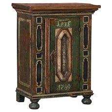 Rustic Antique Danish Baroque Cabinet With Original Paint
