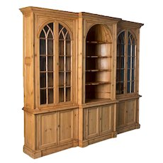 Large Early 20th Century Antique English Pine Bookcase
