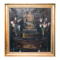 Signed Antique Oil on Canvas Still Life Painting of Clock and Flowers