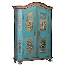 Antique German Folk Art Blue Painted Armoire