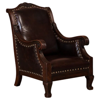 Carved Antique Danish Oak Arm / Club Chair With Leather Upholstery