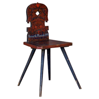 Antique Romanian Folk Art Painted Country Chair