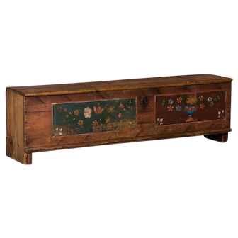 Antique Folk Art Painted Trunk From Romania