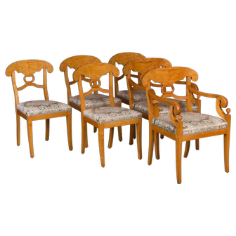 Set of Six Antique Swedish Biedermeier Yellow Birch Dining Chairs