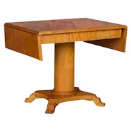 Antique Swedish Biedermeier Yellow Birch Drop Leaf Table