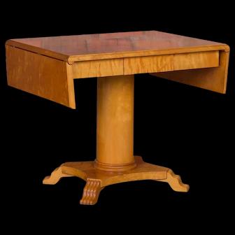 Antique Swedish Biedermeier Yellow Birch Drop Leaf Table
