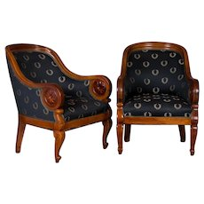Pair of Antique Danish Mahogany Armchairs / Club Chairs