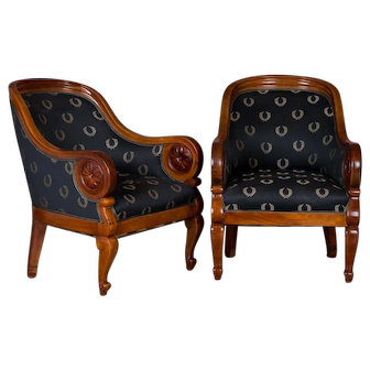 Pair of Antique Danish Mahogany Armchairs / Club Chairs