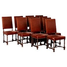 Set of 10 Danish Barley Twist Oak Side Chairs with Vintage Velvet
