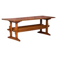 Antique Swedish Pine Farm Trestle Table or Harvest Table