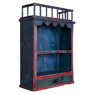 Antique Folk Art Original Blue Painted Hanging Wall Cabinet