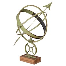 Antique Danish Green Garden Sun Armillary / Sun Clock