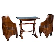 Folk Art Painted Antique Swedish Table and Chairs Set