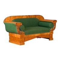 Carved Antique 19th Century Danish Birch Biedermeier Sofa