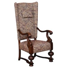 Antique Danish Baroque Oak Wing Back Chair