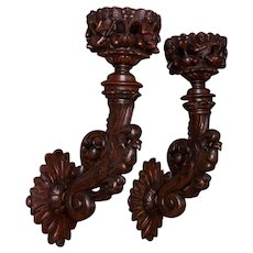 Pair of Heavily Carved Wooden Swedish Wall Sconces