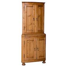 Antique Country Swedish Pine Corner Cabinet