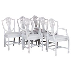 Set of Six Antique White Painted Swedish Dining Chairs