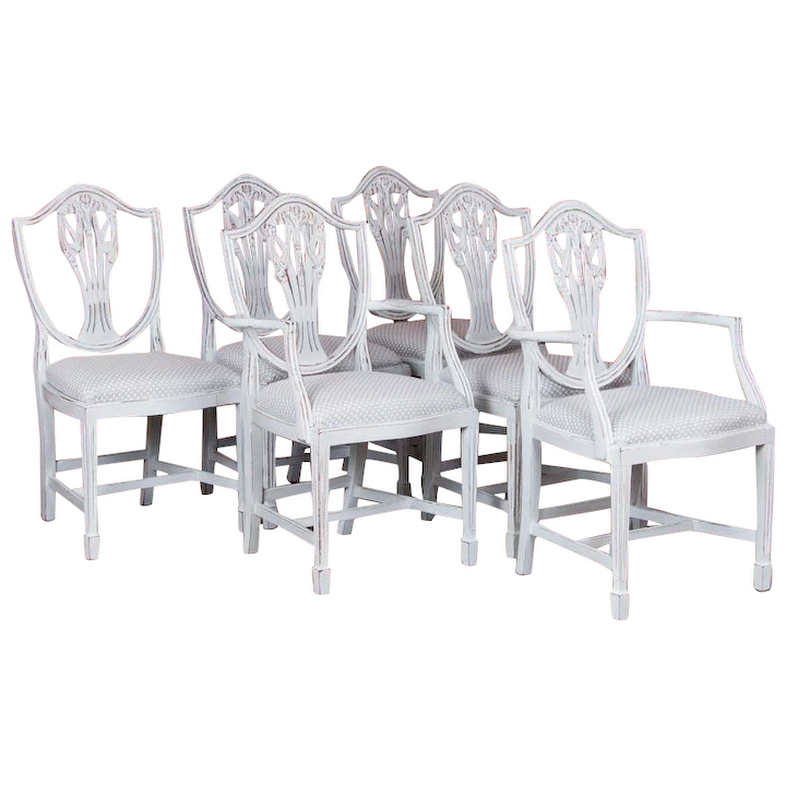 Excellent Set Of Six Antique White Painted Swedish Dining Chairs Theyellowbook Wood Chair Design Ideas Theyellowbookinfo