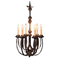 Antique 6 Light French Black Iron Chandelier