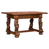 Hand Carved Antique Danish Oak Desk / Entry Table