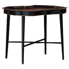 Small Black Painted Swedish Tray Table