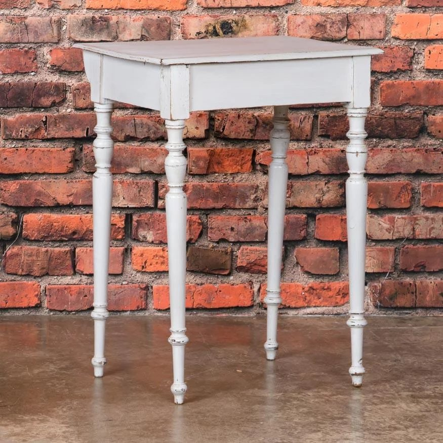 Small White Painted Danish Country Pine Side Table