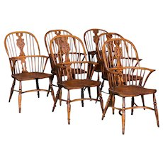 Set of 6 Antique English Windsor Elm Armchairs