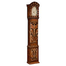Antique Swedish Allmoge Painted Grandfather Clock