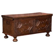 Antique French Baroque Carved Oak Trunk